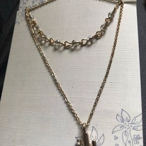 Double Strand Gold Tone Necklace